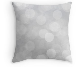 Gray Pillow, Gray Decor, Grey Cushions, Gray Minimalist, Grey Cushion Cover, Abstract Pillow, Bokeh, Gray Throw Pillow, Modern Decor