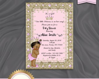 Princess Baby Shower Invitation, Little Princess Baby Shower Invite, Royal Baby Girl Invitation, Pink and Gold - Printable, Digital file