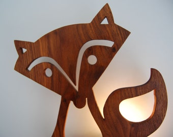 Fox lamp Dandy fox childrens wall lamp or walnut or oak nursery lamp
