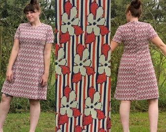 Vintage 70s Red, White, and Blue Shift Dress, modern sz 12