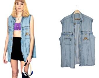80s sleeveless denim shirt / bleached denim jacket