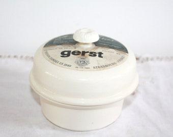 Rustic, Sarreguemines Jar, Foie Gras, Kitchen Canister, Digoin Terrine Jar, French Pate, Kitchen Storage, Ceramic Pot, French Kitchen Decor