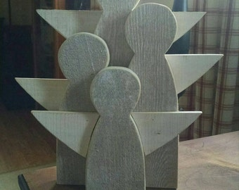 Reclaimed white washed wooden angel family.