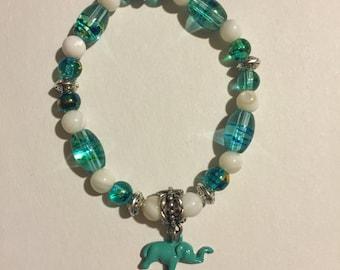 Elephant Glass Beaded Charm Bracelet