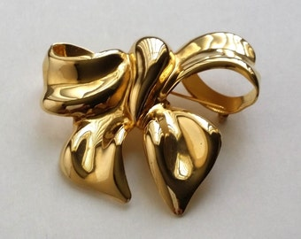 Amazing Vintage Gold Tone Large Bow Pin Brooch