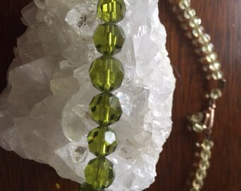 Lime green Antique Glass Beaded Necklace