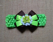 Baby Headband, Neon Green Headband, Flower Headband, Baby Girl Headband, Baby Hair Accessory, Green Hairbow, Girls Hairbow, Brown Hairbow
