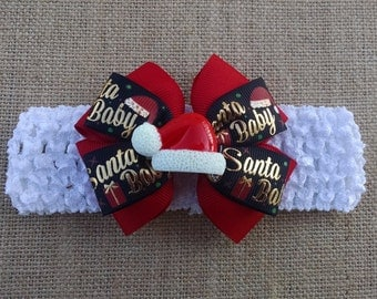 Christmas Headband, Santa Hat Headband, Baby Headband, Baby Hair Accessory, Girls Christmas Bow, Santa Baby Headband, Baby Christmas Bow