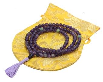 Tibetan Buddhist Genuine Amethyst Mala / Rosary 108 Beads / Free Silk Pouch