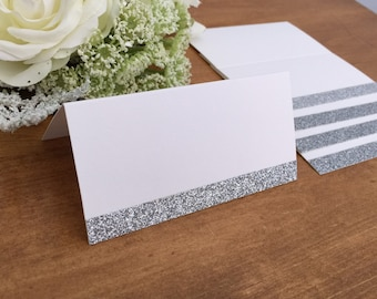 25 - Blank Silver Glitter Wedding Place Cards