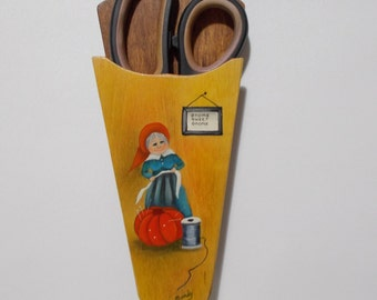 "Vintage Scissor Holder Handpainted Gnome Sweet Gnome Grandma Wood 9"" Long"
