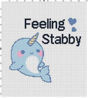Feeling Stabby Narwhal Cross Stitch Pattern Instant