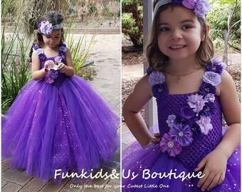 Purple flower girl tutu dress wedding dress Glittery V- shaped Tutu Design - Junior Bridesmaid Dress 1T2T3T4T5T6T7T8T9T