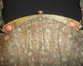 "1930's Silk Brocade Evening Purse with ""Wings"""