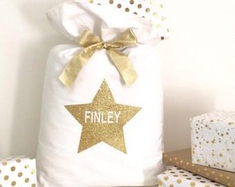 Personalised Glitter Star Christmas Santa Sack