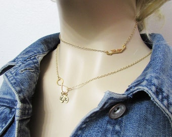 Birds on branch necklace, gold bird necklace, gold branch necklace, Minimalist jewelry, layering necklace