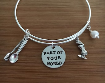 Bangle Bracelet Little Mermaid Part of Your World Bangle Jewelry Ariel Jewelry Freshwater Pearl-Easter gifts
