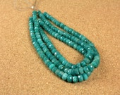 Amazonite Rondelle Beads, Deep Teal Faceted Round Beads, 6-9mm, 10 inch strand