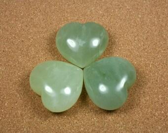GEMSTONE HEARTS - Light Green Bowenite Jade, 1 heart