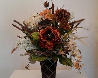 Floral Arrangement, Designer Tuscan Floral Centerpiece, SHIPPING Included Elegant Silk Arrangement, Sofa Table, End Table, Floral decor