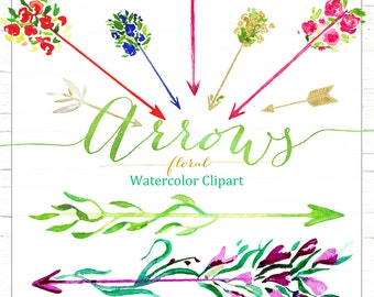 Arrows floral Watercolor clipart , clipart hand drawn.  Valentines day clip art. Love clipart.