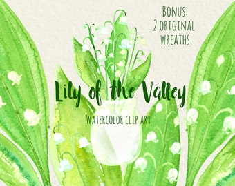 Lily of the valley watercolor digital clip art, Lily of the valley. Spring flowers.