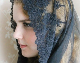 Evintage Veils~ Black French Lace Chapel Veil Mantilla Infinity Veil Latin Mass