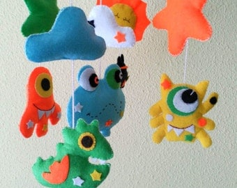 Baby Mobile, crib mobile Monsters 12 items: 4 Monsters, 2 mobile Clouds, 2 mobile Stars, 1 Sun, 1 mobile Spacecraft.