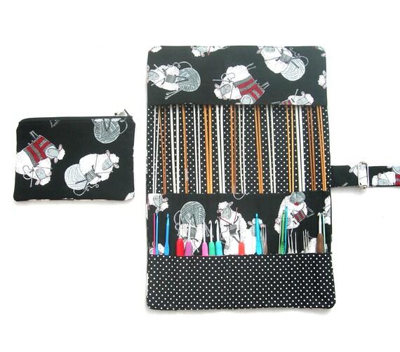 Knitting Organizer Case : Knitting needle organizer sheep fabric case