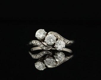 Genuine Art Deco 1.20 Ct diamond three stone platinum trilogy ring