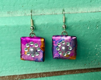 Purple and Coral Dangle Alcohol Ink Earrings