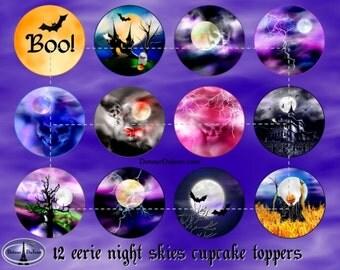 12 Halloween Cupcake Topper Designs Printable Halloween Cake Toppers, Eerie Night Skies, Moons, Lightning, Bats, Haunted House Cupcakes