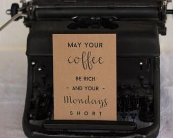 Coffee Blessing Card : Brown Kraft Paper