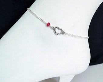 Ruby anklet, Silver heart ankle bracelet, Jade anklet, red anklet, Summer jewelry
