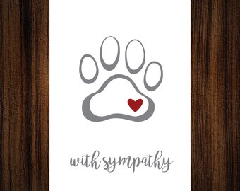 "Pet Sympathy Card  |  Blank Interior  |  Printable Digital Download  |  5x7"" A7"
