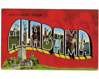 Greetings from Alabama vintage linen postcard   Cheaha State Park, Bunker Tower   1940s AL travel postcard   state postcard