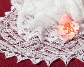White Shawl, Mohair Shawl, Wool Scarf,  Party Shawl, Party scarf,Women Shawl,White Scarf,Women Accessories,Handmade Shawl,Handmade Scarf