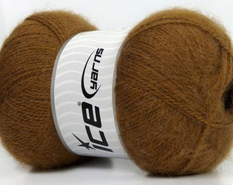 Angora Yarn Caramel Brown, Angora blend sock yarn, Sport weight, 546 yards per skein, Ice Yarns Angora # 36136