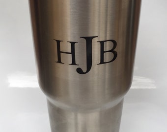 Custom Mens Monogram Vinyl Sticker/  Decal for Tumbler, cups, water bottle, Computer or anything!