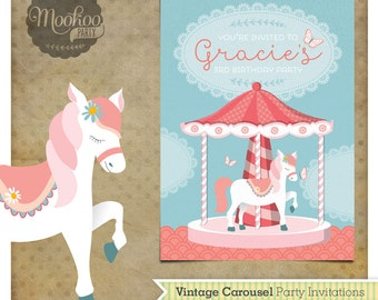 Carousel Pony Printable Party Invitations