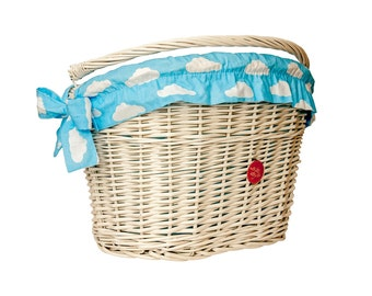 White Wicker Bike Basket Bike Belle with Clouds liner