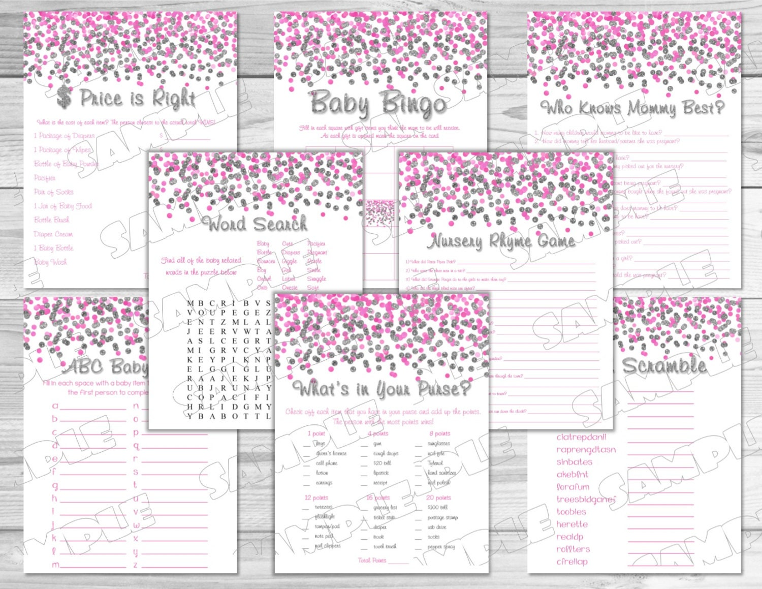 pink and silver confetti baby shower games by greenmelonstudios