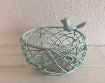 Sweetest Wire Bird Nest Basket With Bird - Painted Aqua Mint - Shabby Cottage Chic - Distressed - Baby Girls Nursery - Girls Room - Storage