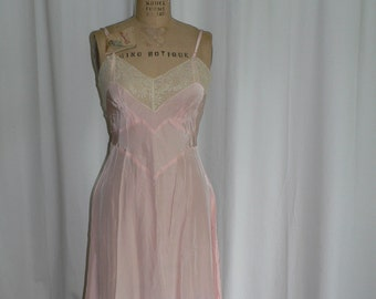 1940's Pink Rayon Slip with Lace Trim By Seamprufe Size 34 New With Tag