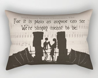 """The Nightmare Before Christmas Pillow Jack and Sally """"Simply meant to be"""" Quote Pillow Includes Insert Jack and Sally Pillow Home Decor Gift"""