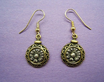 Free Shipping*, Floral Earring, Flower Jewelry, Bohemian, Boho Jewelry, Gold Tone, Silver Plate, Antique Finish, #50236,