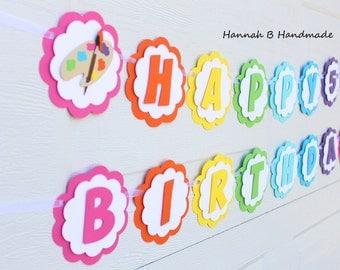 Art Birthday Banner, Paint Birthday Banner, Rainbow Birthday Banner