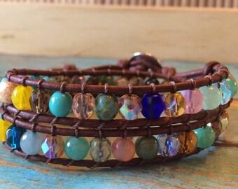Multicolor beaded leather wrap bracelet, boho bracelet, bohemian bracelet, glass beaded, leather cording, button closure, double wrap