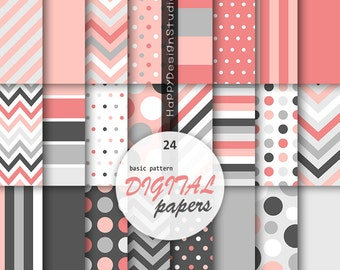 Pink & gray digital paper coral grey pattern printable background gift wrap papers commercial use stripe chevron dot basic classic dark gray