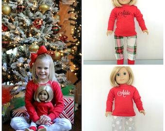 Doll Christmas Pajamas to Match Girls, Chirstmas PJs, matching family pajamas, organic cotton, Christmas pajamas, American girl doll pajamas